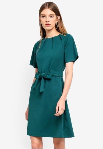 Dorothy Perkins 綠色 Green Tie Waist Shift Dress 9EEADAAB099595GS_1
