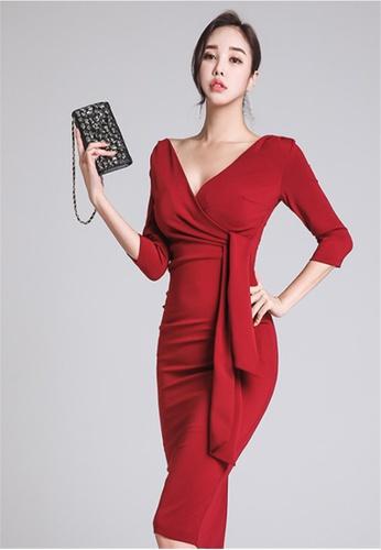5b3c5dd65fa3 Crystal Korea Fashion red New V-neck High Waist Slim Red Dress  9B8AEAA691F105GS 1