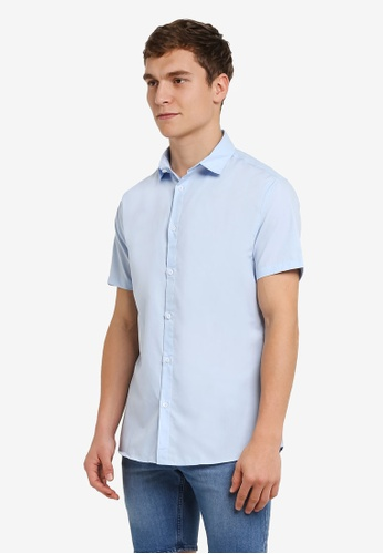 Cotton On blue Short Sleeve Slim Smart Shirt CO372AA0RZ8GMY_1
