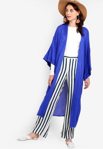 Zalia 藍色 Midi Kimono Cardigan 84C8FAA36E085AGS_1