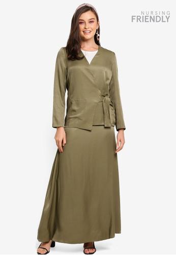 Lubna green Wrap Style Kurung E2DFBAA678C238GS_1
