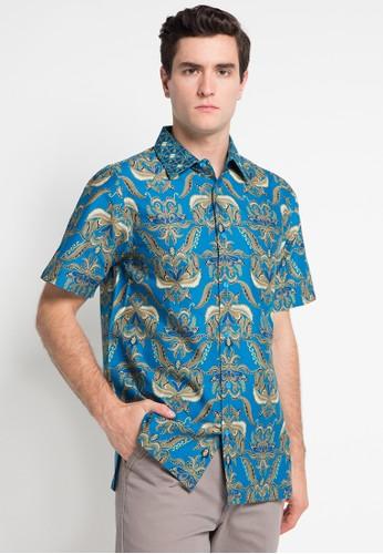Batik Solo blue Short Sleeve Cotton Print Shirt BA657AA0WFMTID_1