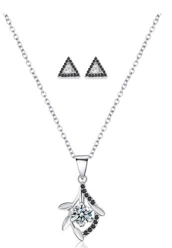 A-Excellence white Premium Elegant White Sliver Necklace Earring Set 814D8AC9124264GS_1