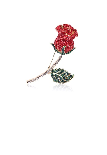 Glamorousky red Elegant and Bright Plated Gold Rose Brooch with Red Cubic Zirconia 5F22BAC0D751FDGS_1