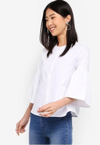 ZALORA BASICS white Basic Bell Sleeves Shirt 03E2EAA8C67F84GS_1
