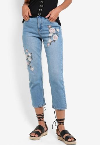 Miss Selfridge blue Petite Embroidered Mom Jeans MI665AA98BCBMY_1