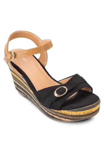 條紋厚底楔型涼鞋, 女鞋,zalora退貨 楔形涼鞋