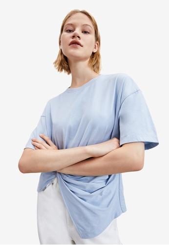 URBAN REVIVO blue Twist T-Shirt 437BDAAFB646B1GS_1