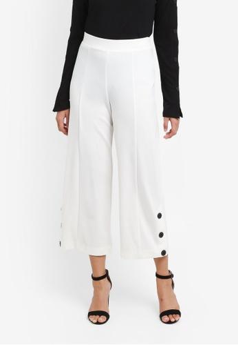 Miss Selfridge white Ivory Button Hem Cropped Wide Leg Trousers CF642AA1FE5DBDGS_1