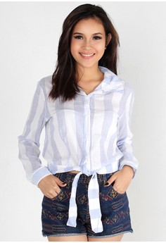 Faded Vertical Stripes Ribbon Tied Long Sleeves Top