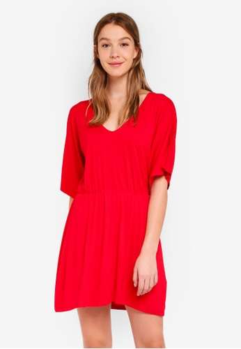 Cotton On red Reina V Neck Fit Flare Dress 99A74AA7242E41GS_1