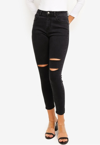 ZALORA BASICS black Mid Waist Skinny Jeans 9E054AAFC23337GS_1