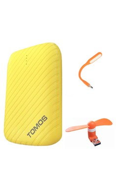 Tomos N32 9000mah Powerbank (Yellow) with Free USB LED Light and USB Portable Fan