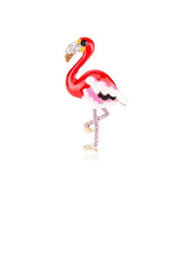 Glamorousky silver Simple and Cute Red Flamingo Brooch with Cubic Zirconia 81B66AC1679474GS_1