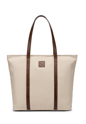ULA ULA brown and beige Ula Ula Light Weight Coated Canvas With Leather Trim Shopper Tote 7CDC2AC558CBE9GS_1