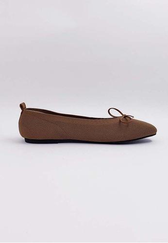 HERME MONY brown Japanese Knit Flat Shoes 8E937SH1175402GS_1
