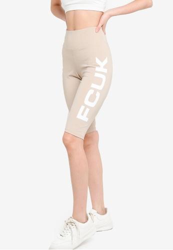 French Connection beige FCUK Bike Shorts BA8E4AA5489C51GS_1