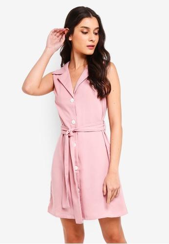 ZALORA 粉紅色 綁帶襯衫洋裝 66DCEAA3C629FBGS_1