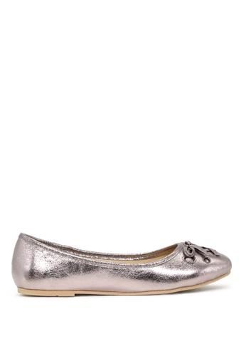 London Rag silver Pewter Ballerina Flats with Bow SH1701 F97FFSHFDBDE06GS_1
