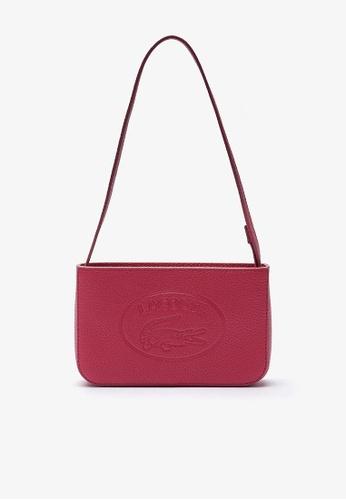 LACOSTE red Women's Croco Crew Grained Leather Baguette Bag 0EA57ACEAEA730GS_1