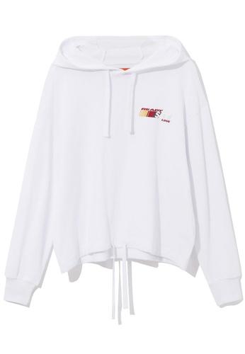 tout à coup white Drawstring hem hoodie DCFA4AAB9589E6GS_1