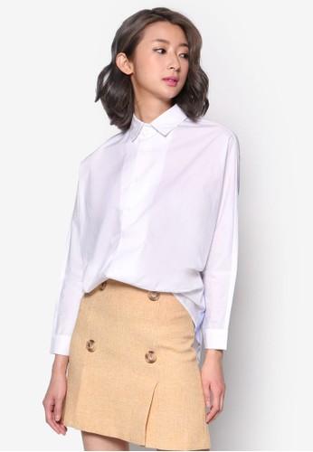 esprit outlet 桃園條紋拼接長袖襯衫, 服飾, 上衣