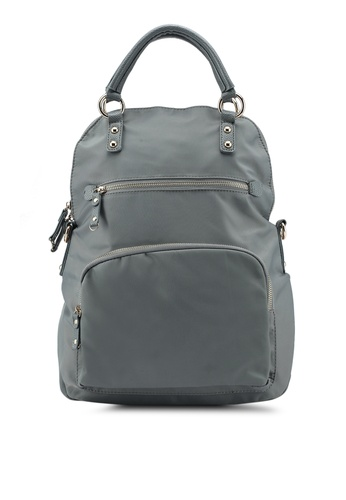 buy nuveau pu trimmed nylon 3 way usage backpack with top handle