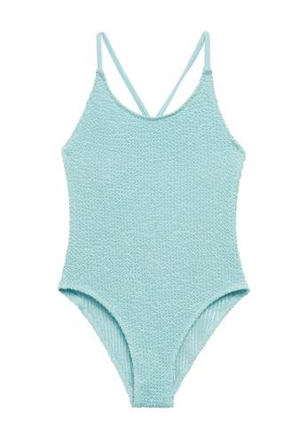 MANGO KIDS blue Wrap-Back Textured Swimsuit 38660KA27947F1GS_1