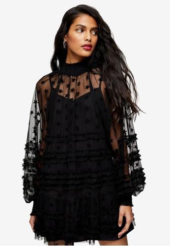 TOPSHOP black Star Mesh Mini Dress A0A1AAAF685582GS_1