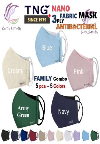 Cantik Butterfly multi TNG 3 Ply Antibacterial Nano Fabric Mask Reusable (Family Combo: 1pcs Black + 1pcs Navy + 1pcs Blue + 1pcs Cream+ 1pcs Pink) AD5EBES8F4BA5FGS_1