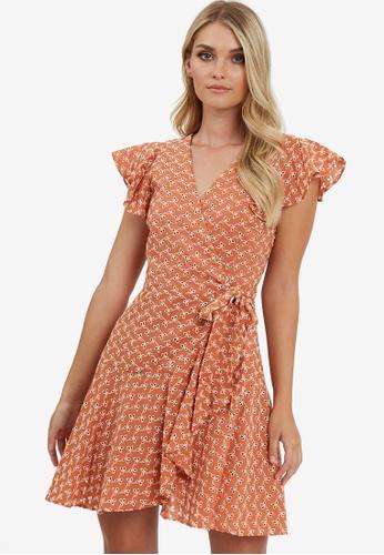The Fated orange Capri Wrap Mini Dress 2C6D1AAA32B69EGS_1
