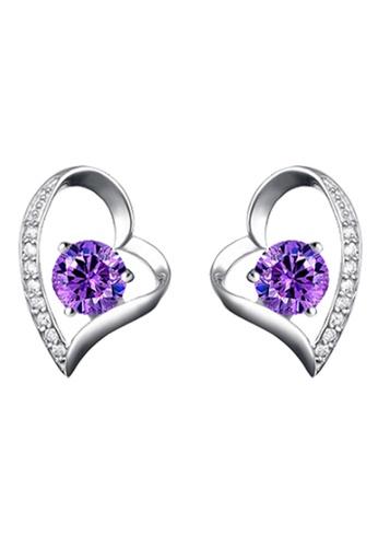 YOUNIQ purple and silver YOUNIQ Lovey CZ 925 Sterling Silver Earrings (Purple) FBA67AC3A770A4GS_1