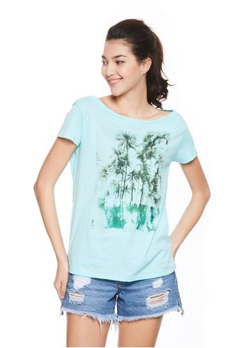 Sisley blue Printed T-shirt 1F122AAB1ECB27GS_1