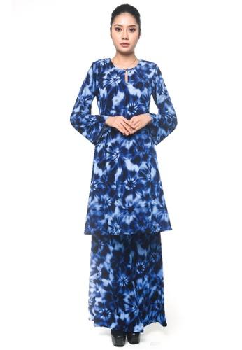 UMMIRIAZ blue Kurung Pahang in Blue Tye Dye 0D4ADAA643EBB0GS_1
