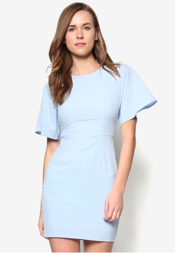 ZALORA blue Collection Fluted Sleeve Sheath Dress AFJKWAA0000053GS_1