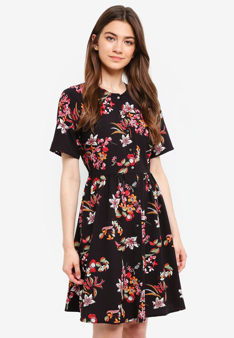 Tropical Print Dress Borrowed Something Down Buttoned Black 8nxw1