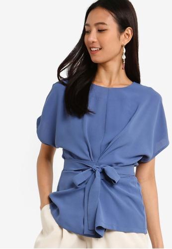 ZALORA 藍色 Wrap Tie Detailed Top 4143FAA603F5C6GS_1