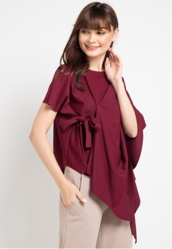 Uptown Girl red Asym Blouse D94FCAA46E401BGS_1