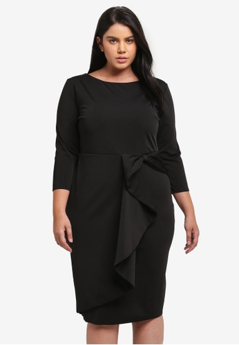 Goddiva black Plus Size Waterfall Peplum Quarter Sleeve Midi Dress GO975AA0SSBDMY_1