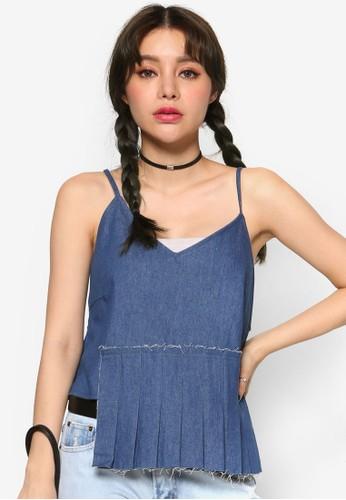 韓系時尚褶飾拼接丹寧細肩帶, esprit outlet 台灣服飾, 上衣