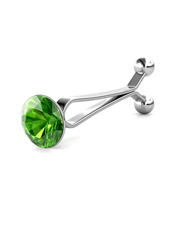 Her Jewellery green and silver Crystal Clip Brooch (August) - Made with premium grade crystals from Austria FE7ECACAB3DB72GS_1