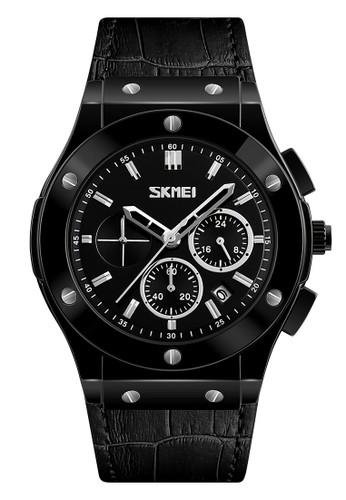 Digitec black Skmei - Jam Tangan Pria - Black - Leather Strap - 9157-B DI108AC0WCDZID_1