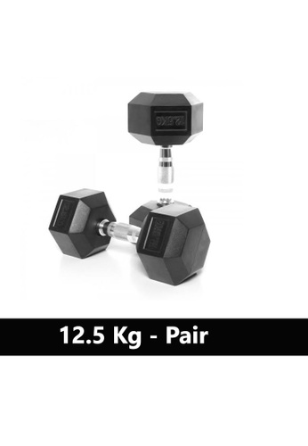 LIVE UP AND LIVE PRO. black Liveup Rubber Hexagonal Dumbbells - 12.5Kg (Sold as Pairs) 08AAFSE9692013GS_1