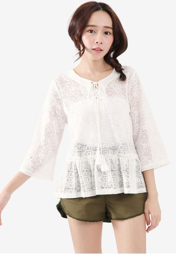 Tokichoi white Lace Top with Tassels 358B6AAAD6E20FGS_1