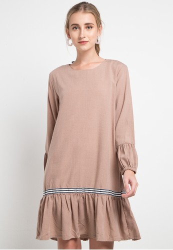 SIMPLICITY multi and brown Ruffle Mini Dress 69DF2AA935C17EGS_1