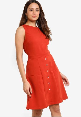 ZALORA orange Button Down Sleeveless Dress D3152AAEC86691GS_1