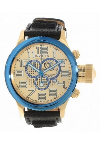 INVICTA gold Invicta Russian Diver Men 52mm Case Black Leather Strap Gold Dial Quartz Watch 14615 w/ Cap IN968AC0FEKKSG_1