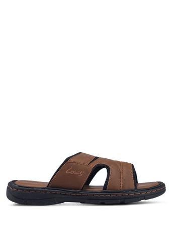 Louis Cuppers brown Paneled Flat Sandals 3E6B9SH495D335GS_1