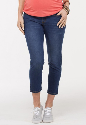 Bove by Spring Maternity blue Woven Winnie Slim Skinny Denim Crop 52DBCAA3B67A28GS_1