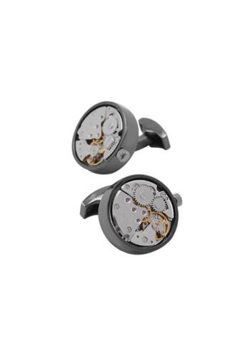 Kings Collection black Handmade Steampunk Round Movement Watch Functional Mechanical Cufflinks 83D70AC54CD317GS_1